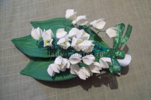 Мастер-класс изготовления зажима для волос «Ландыши» из фоамирана