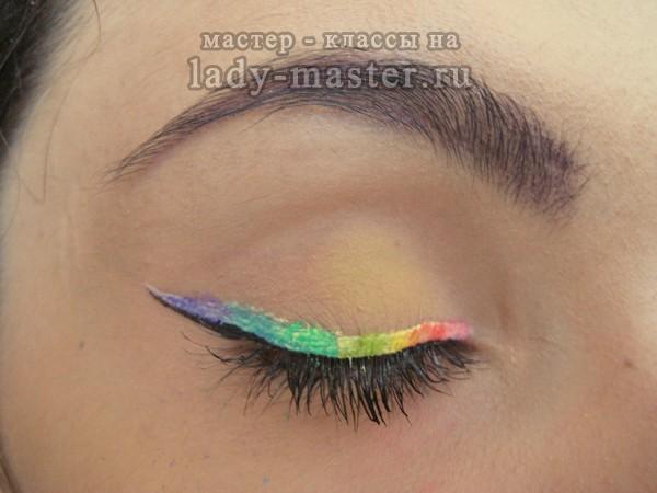 как сделать радужный макияж, фото
