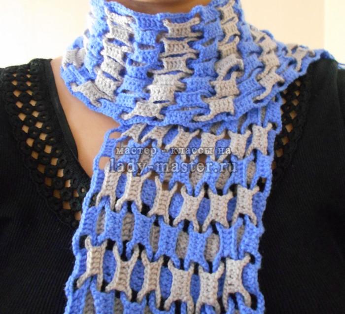 Модный шарф крючком для начинающих