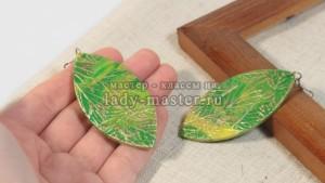 Сережки «Листья» из полимерной глины