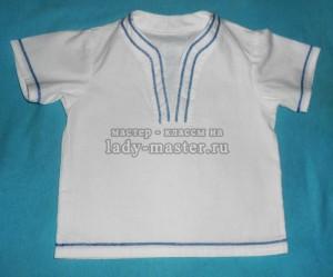 Крестильная рубашка без пуговиц с вышивкой