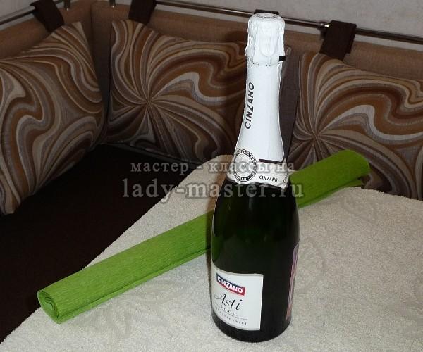 Украшение шампанского конфетами своими руками