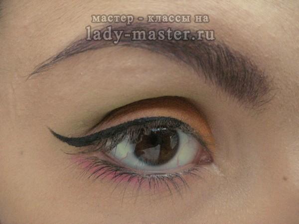 сочный оранжевый макияж, фото