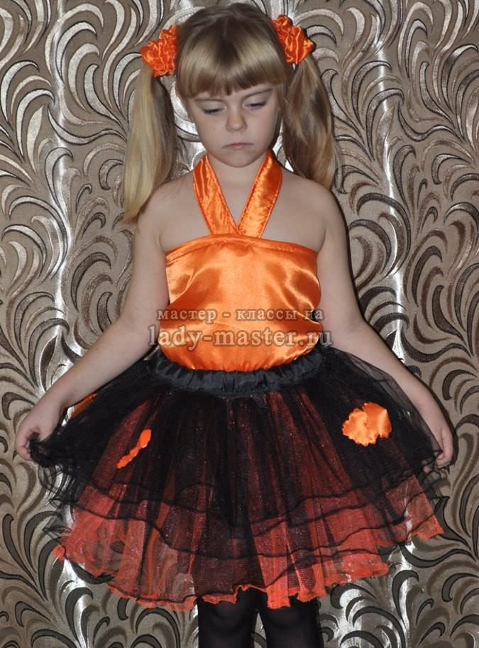 Костюм осени для девочки (юбка — пачка и топик) своими руками