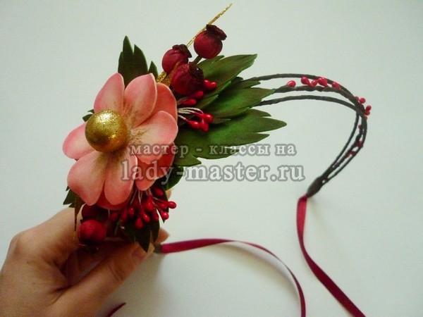 ободок с цветком своими руками. фото