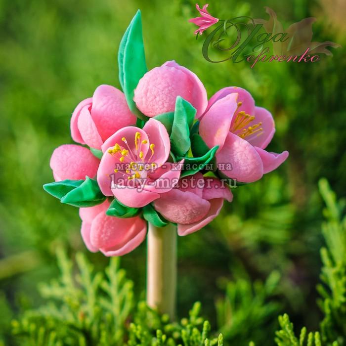 Японская палочка для волос с цветами айвы, фото