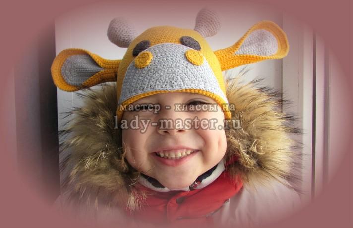 шапка жираф крючком описание с фото