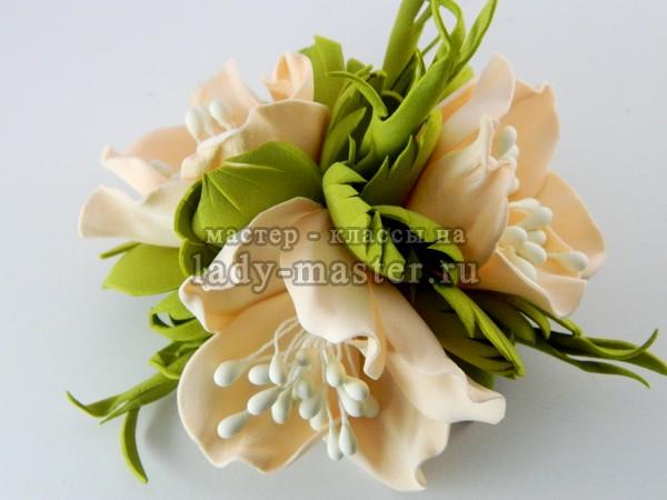 цветы для заколки из фоамирана, фото