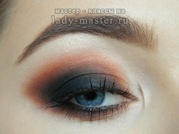 макияж темно синих глаз, фото