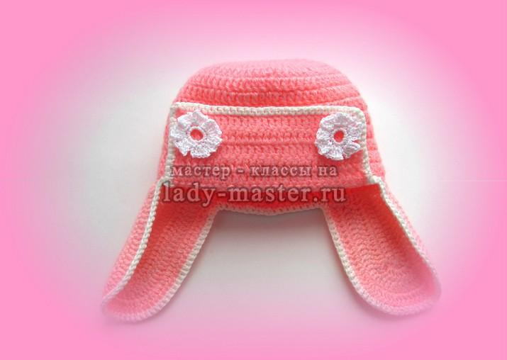 шапка с ушками крючком для девочки, фото
