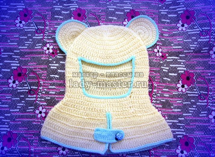шапка шлем связанная крючком, фото