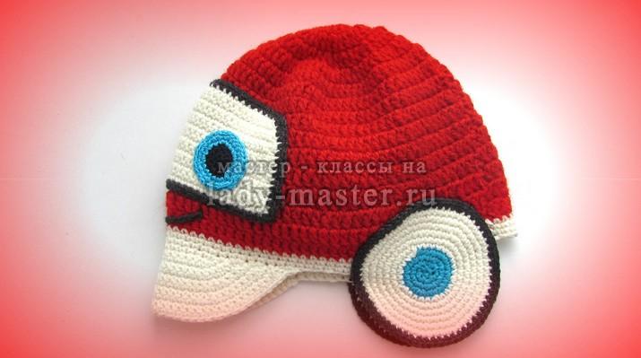 шапка тачки крючком. фото