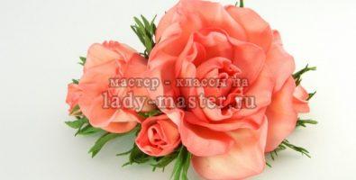 Гребень с розами из фоамирана