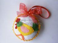 Елочный шар с аппликацией «Петушок»