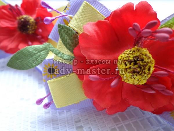 Резинки для девочки «Маки» из атласных лент