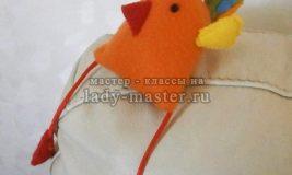Оранжевый петушок из фетра