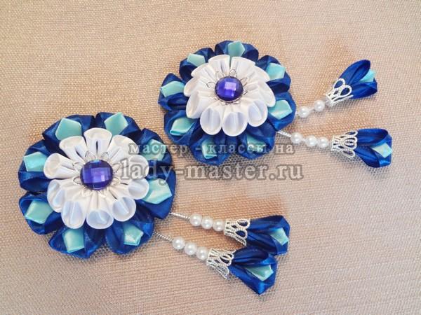 цветочки канзаши для заколок, фото