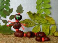 Гусеница из каштанов и пластилина своими руками