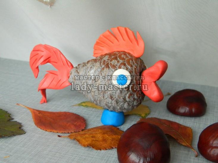 золотая рыбка из шишки, фото