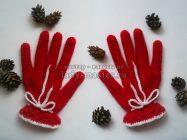 Элегантные красные перчатки крючком
