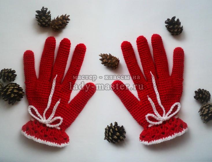 перчатки крючком, фото