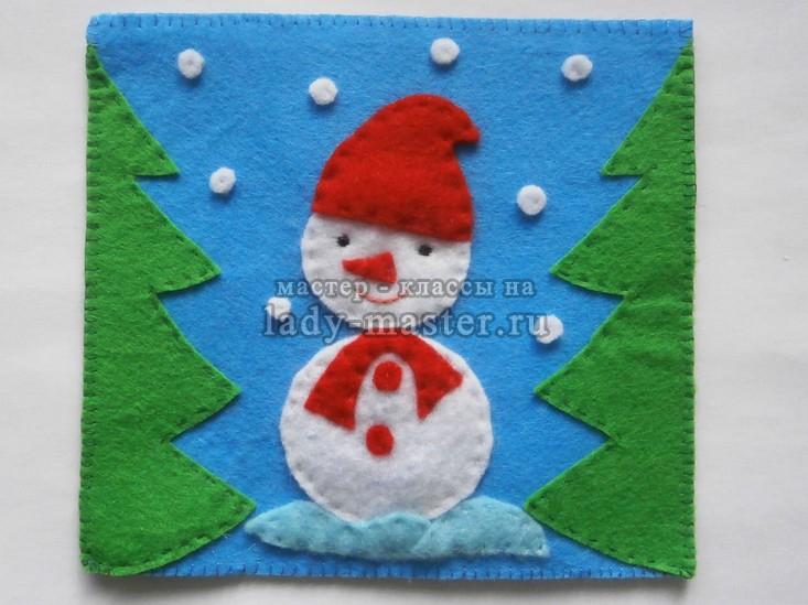Новогодняя подставка для чашки со снеговиком