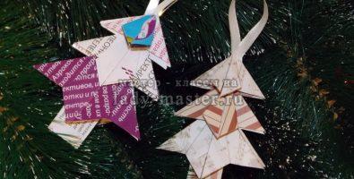 Украшения для новогодней елки своими руками. Объемная елочка из бумаги