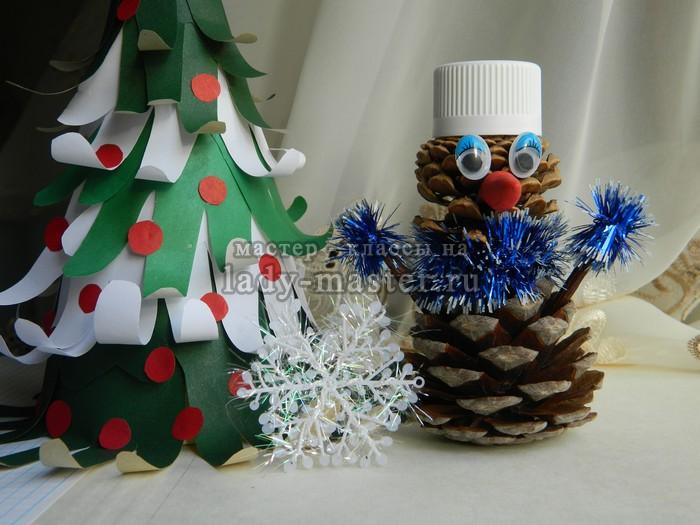 снеговик из шишек, фото