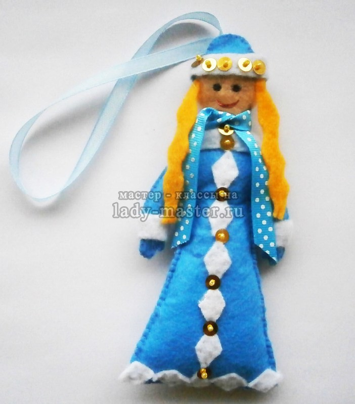 Новогодняя игрушка «Снегурочка» из фетра
