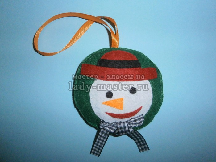 елочный шар со снеговиком своими руками, фото