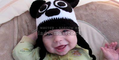 Шапочка панда для малыша крючком