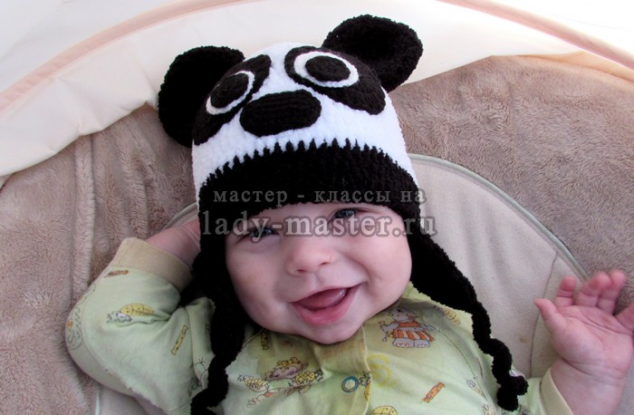 Шапка панда с ушками, фото