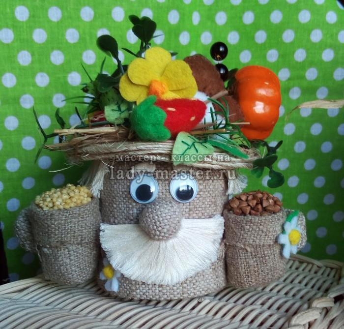 Поделки из баночки для детского питания: маленький домовенок — солонка