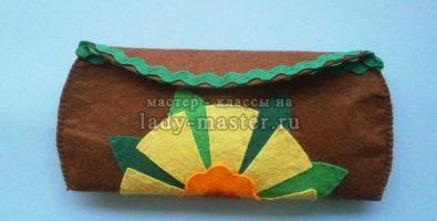 Чехол для очков с цветком из фетра