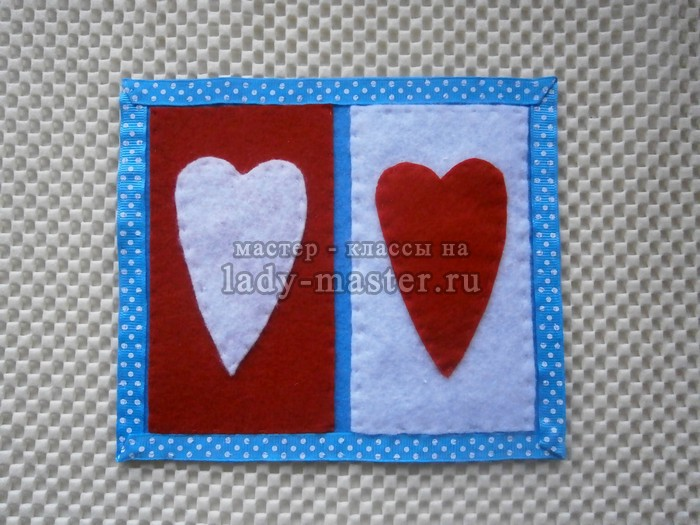 Подставка для чашки с сердечками из фетра, фото