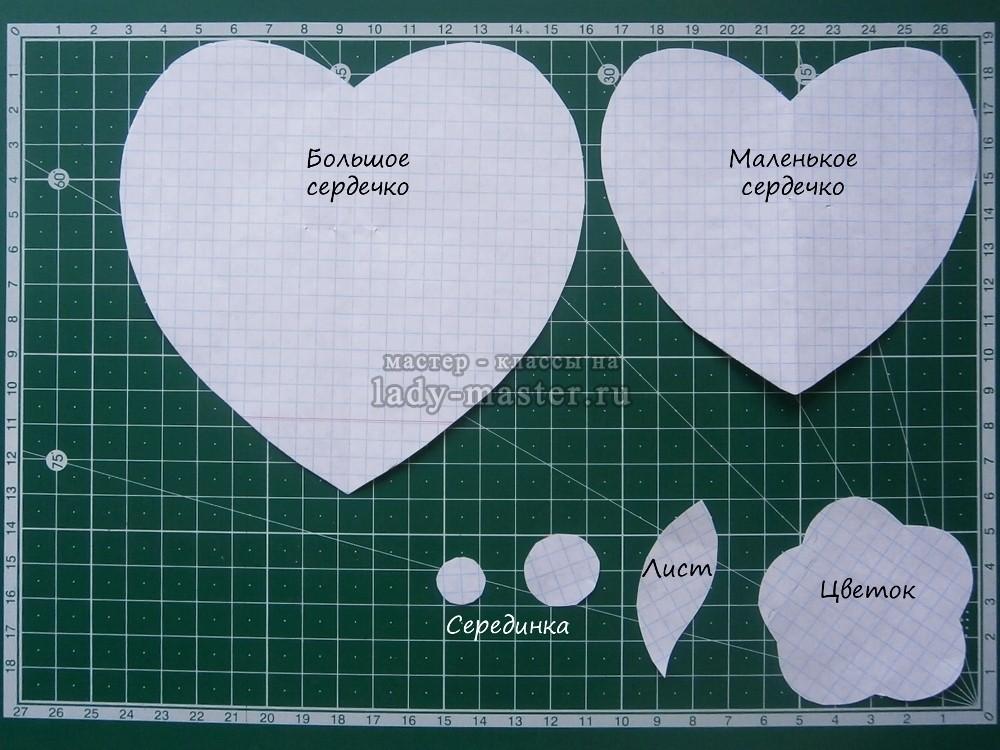 выкройка подставки для чашки с сердечком
