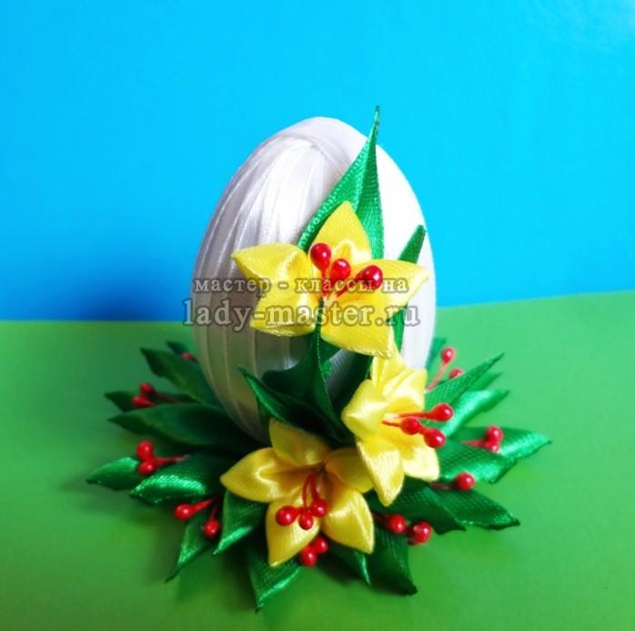 пасхальное яйцо в технике канзаши, фото