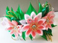 Летний ободок с цветами канзаши своими руками