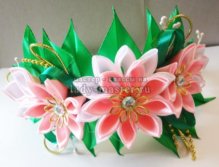 Весенний ободок с цветами канзаши