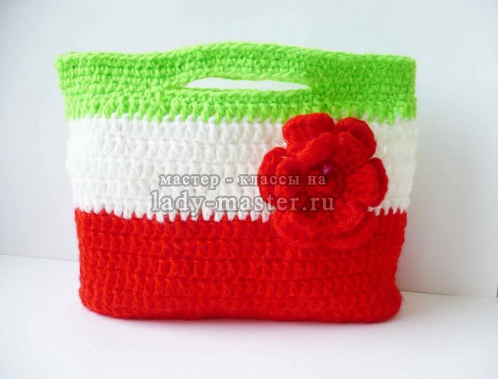 Полосатая детская сумочка крючком