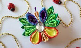 Бабочка канзаши из атласных лент своими руками