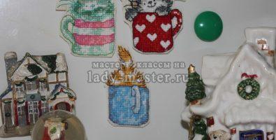 Текстильные магниты на холодильник «Котики»
