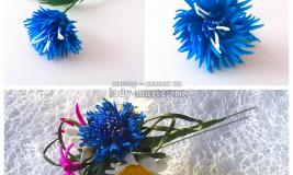 Васильки из фоамирана — мастер — класс по изготовлению цветка и яркой заколки