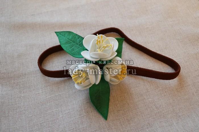Мастер-класс по созданию резинки с цветами жасмина из фоамирана