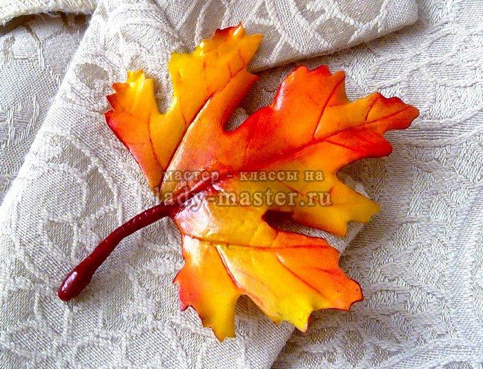 лист клена из фоамирана, фото