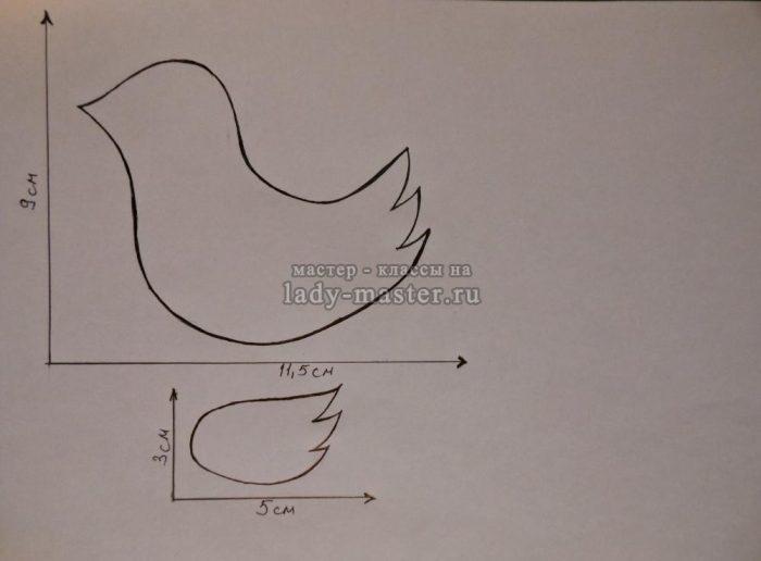 выкройка птиц из фетра, фото