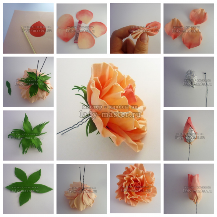 Искусственные цветы своими руками из ткани и фоамирана 11