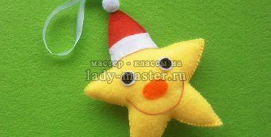 Елочные игрушки из фетра — звездочка