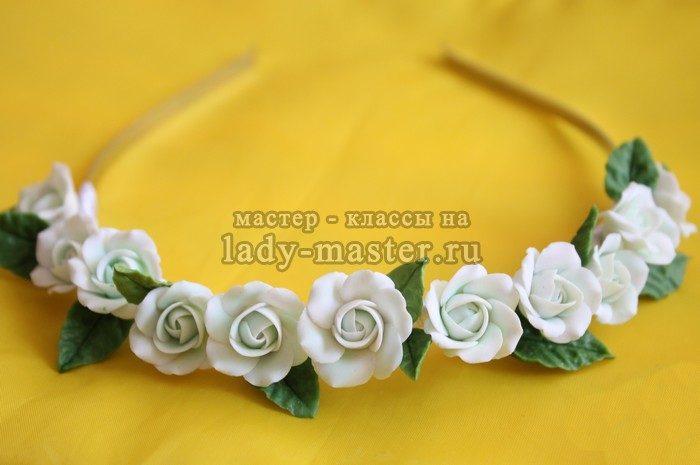 обруч для волос с розами из полимерной глины фото