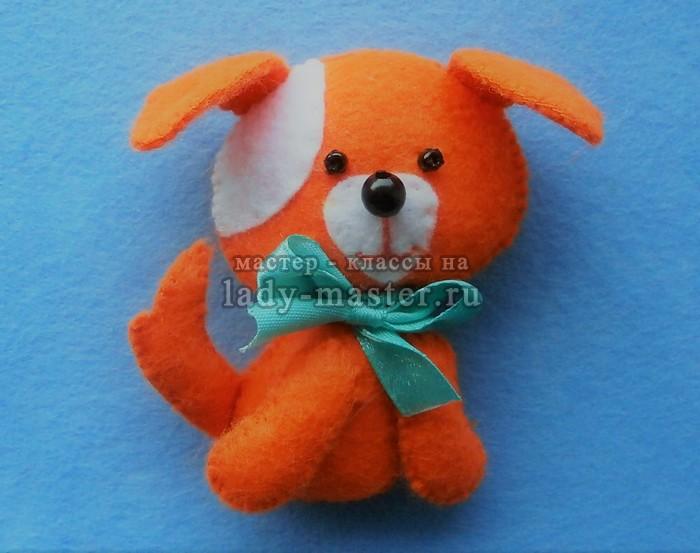 Рыжая собачка из фетра
